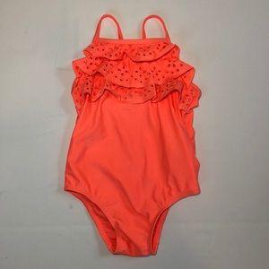 NWT GAP kids girl coral eyelet swimsuit size 3